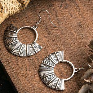 3/$20 New Silver Fan Shaped Boho Retro Earrings